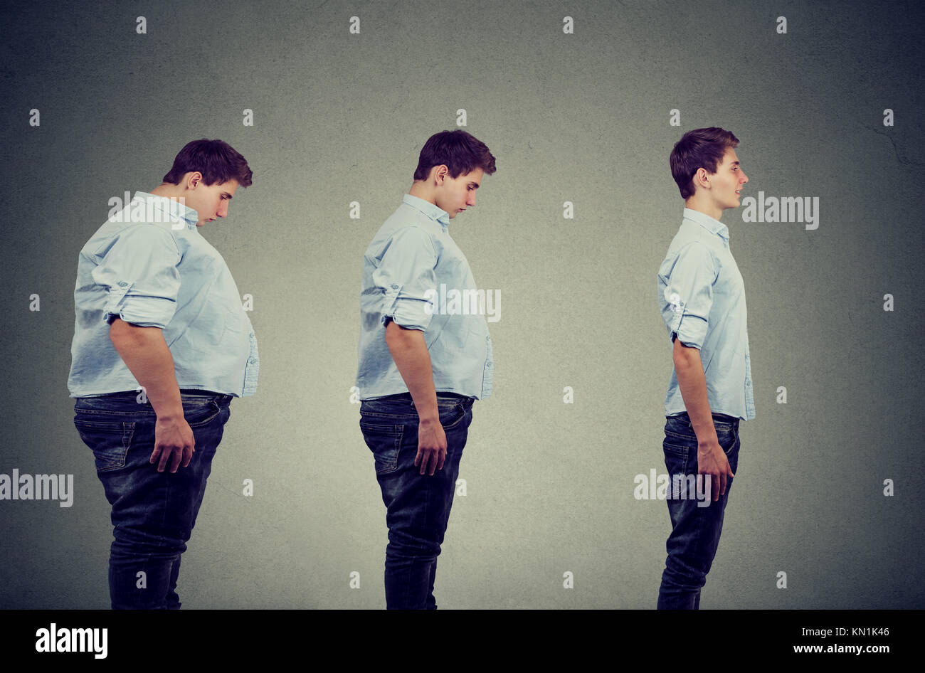 Side profile of a young chubby man transformation into a slim happy person - Stock Image
