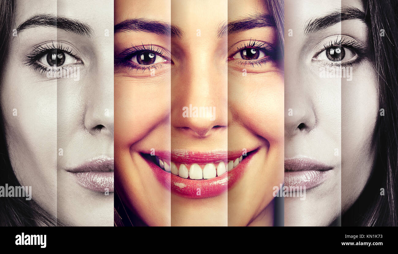 Serious woman hiding happy emotions - Stock Image