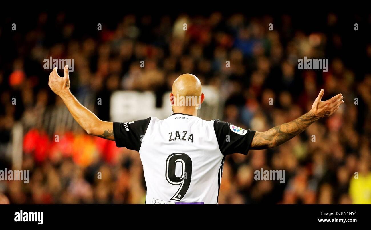 Valencia's Simone Zaza celebrates after scoring against Celta de Vigo during the La Liga first divison soccer - Stock Image