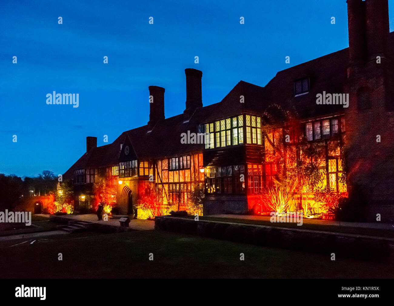 Wisley, Surrey, UK, 09th December 2017. The Laboratory Building is illuminated in glowing warm colours as part of - Stock Image