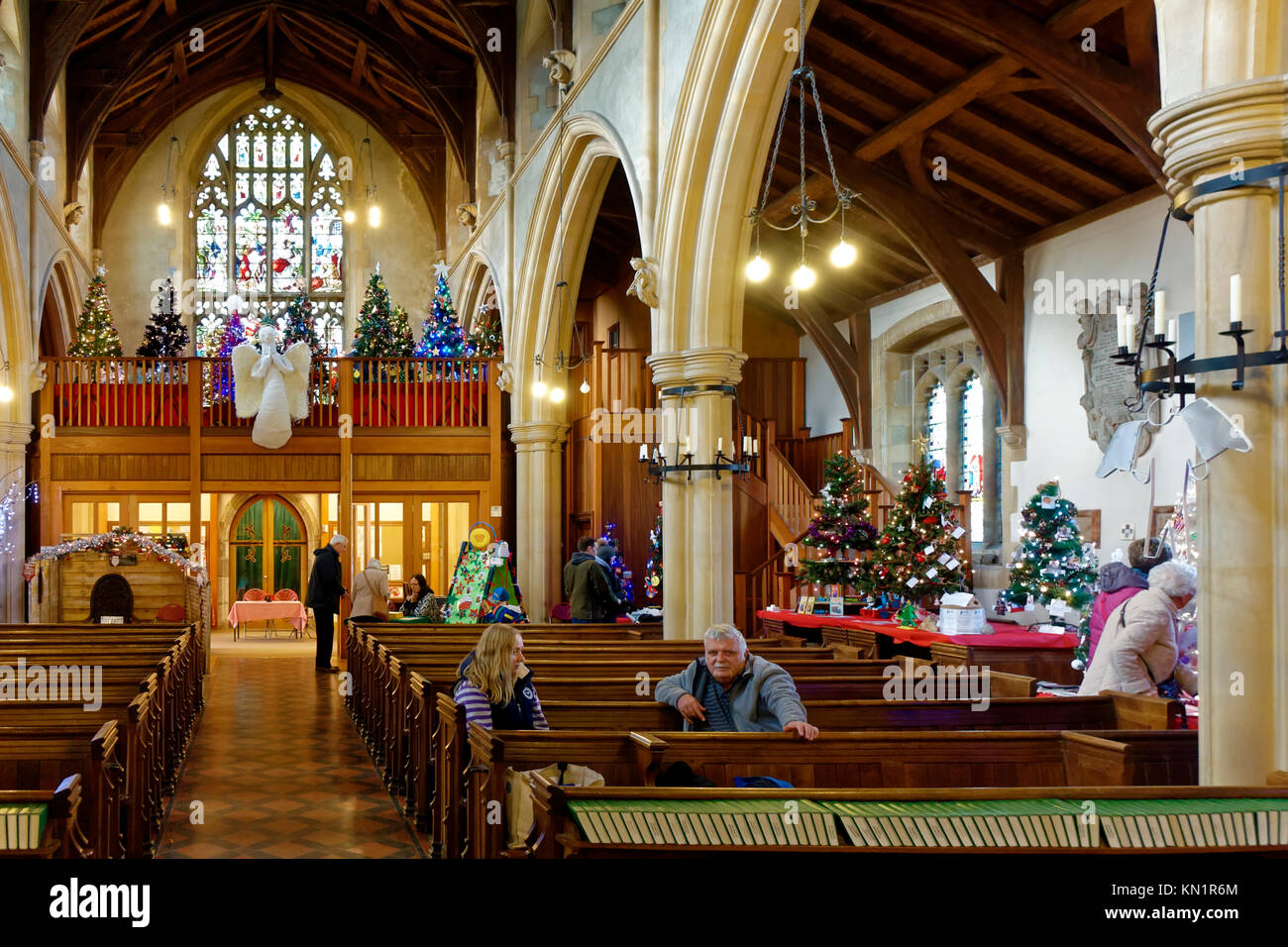 Minster Church, Warminster, Wiltshire, UK. 9th December 2017. The Minster Church of St Deny's in Church Street, - Stock Image