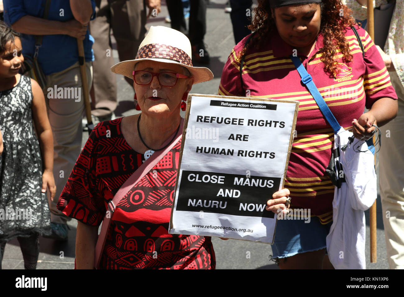 Sydney, Australia. 10 December 2017. On International Human Rights Day protesters gathered at Sydney Town Hall before - Stock Image