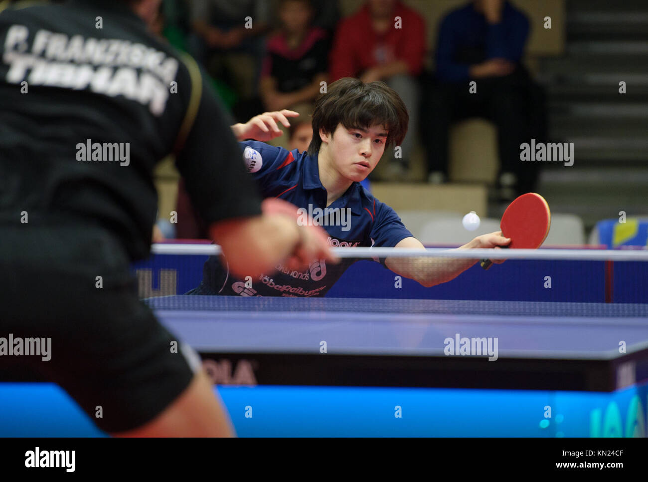 Germany. 10th Dec, 2017. Deutschland. 10th Dec, 2017. Masataka Morizono (Gruenwettersbach), versus Patrick Franziska - Stock Image