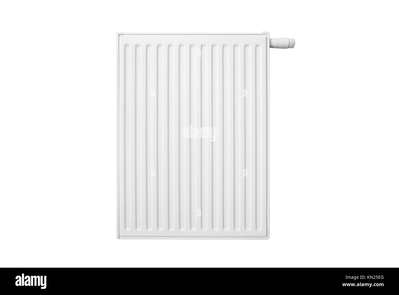 Radiator isolated on white background. radiator white heater central metal front isolated water concept - Stock Image