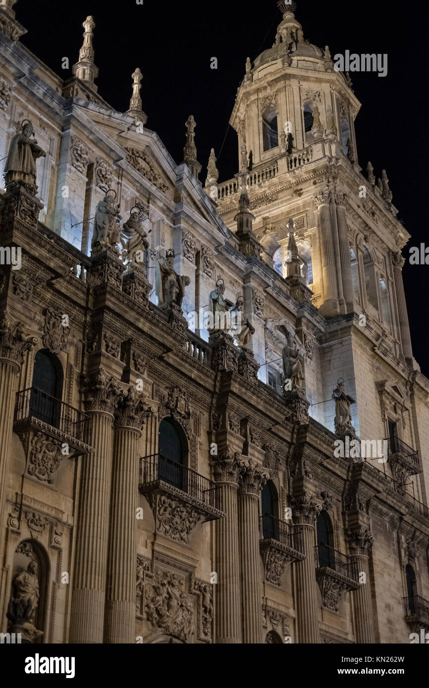 Night image of european Jaen Cathedral in Andalusia with ambient light - Stock Image