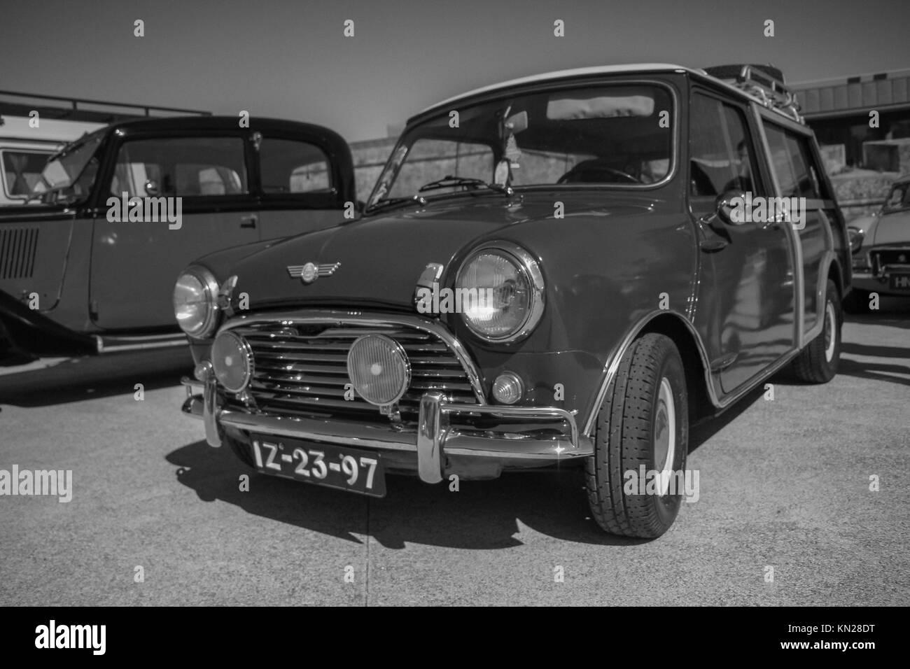 classic Austin Mini Cooper retro vehicle parked - Stock Image
