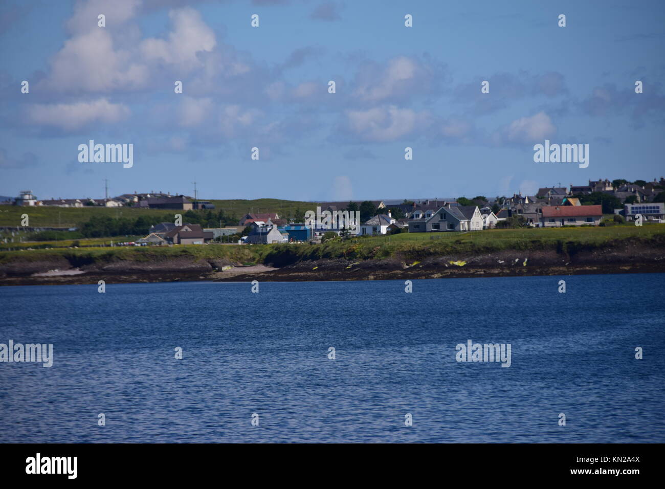 Arriving in Stornoway from sea. Coastal views and perspective. Isle of Lewis, Outer Hebrides of Scotland - Stock Image