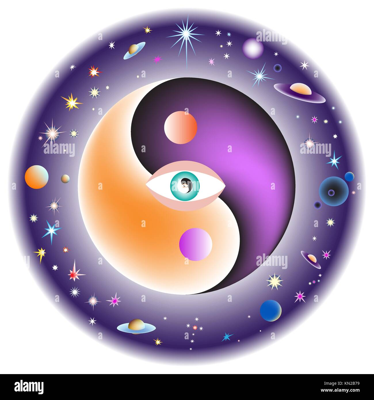 Eye in the center of the universe. - Stock Vector