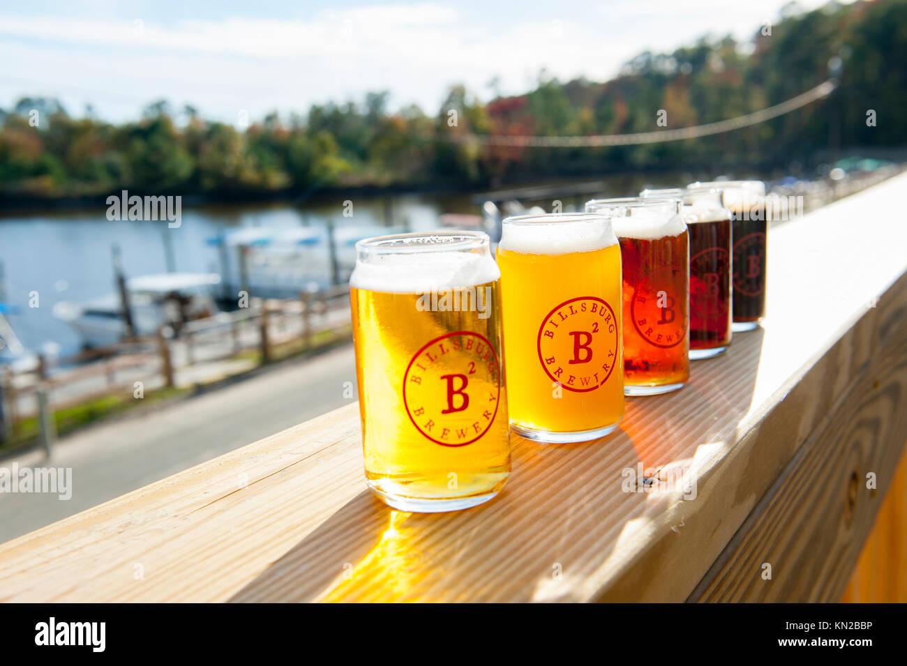 USA Virginia VA Jamestown Billsburg Brewery a flight of beers for tasting at the Jamestown Yacht Basin micro brew - Stock Image