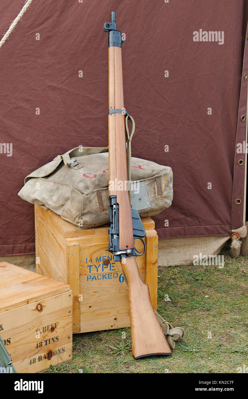 World war 2 era historical British army Lee Enfield rifle. - Stock Image
