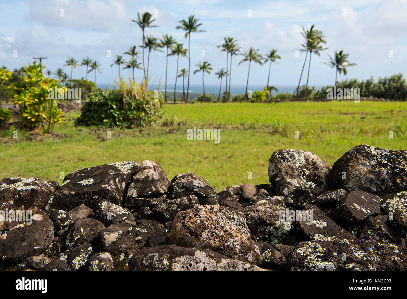 Poliahu Heiau on Kauai island, Hawaii, a highly important ritual place of the old Hawaiian culture. - Stock Image
