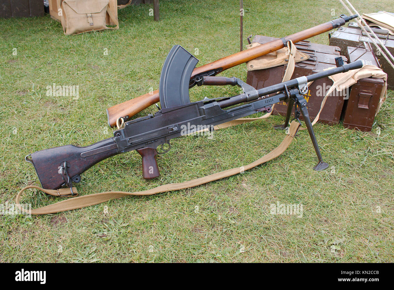 World war 2 era historical British army Bren light machine gun. - Stock Image