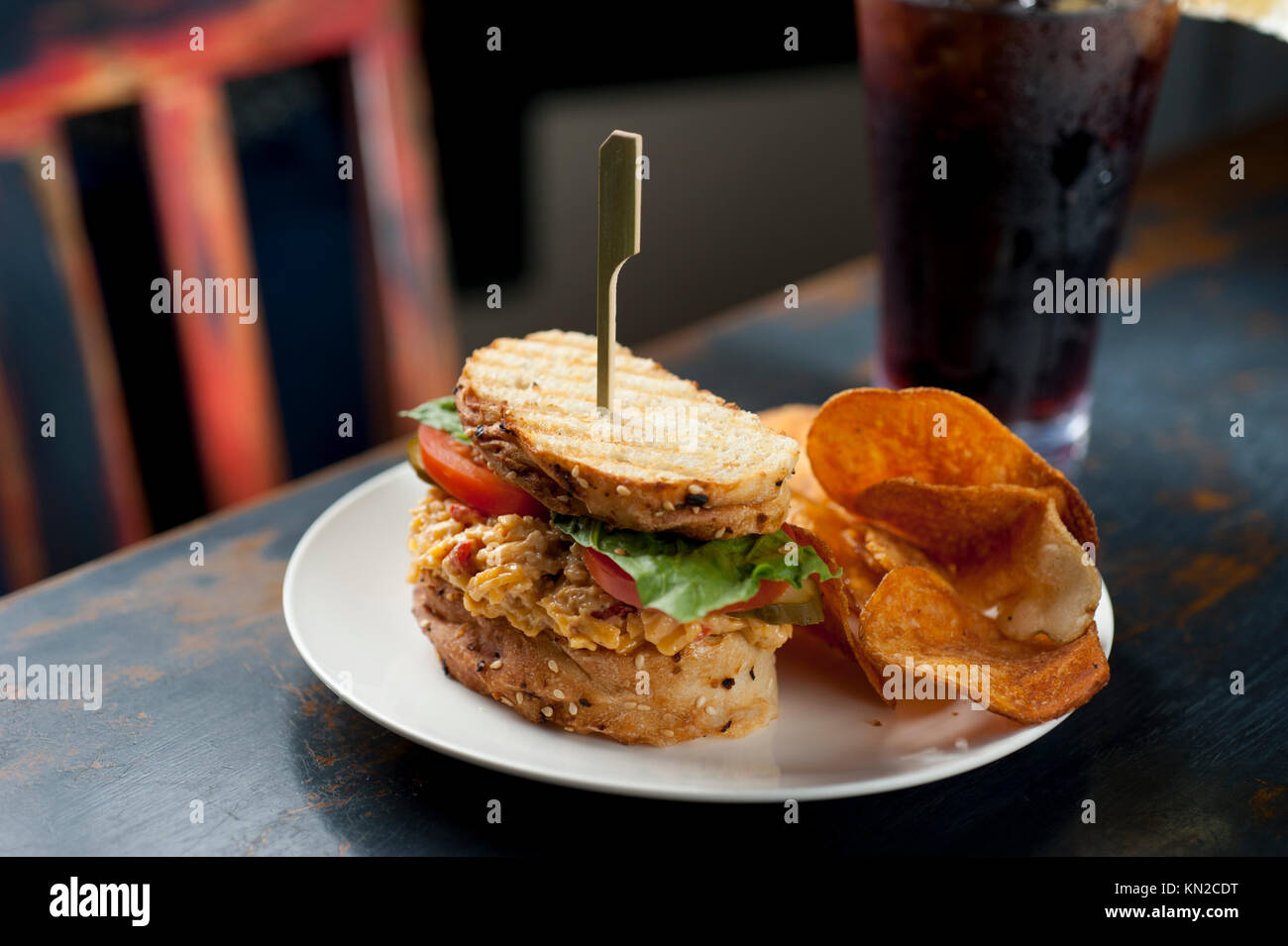 Food USA pimento cheese sandwich and potato chips at the Culture Cafe in Williamsburg Virginia VA - Stock Image