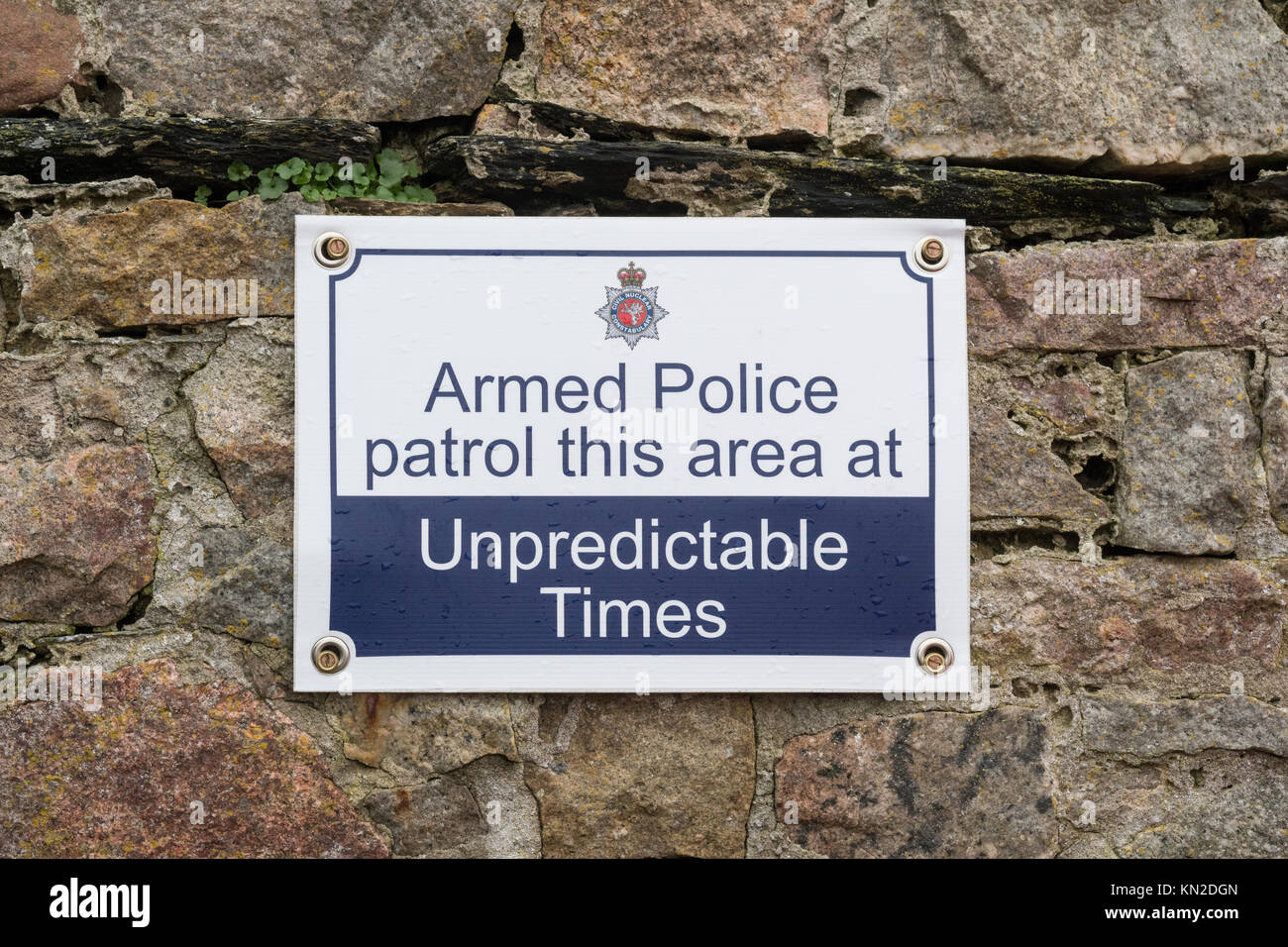 Civil Nuclear Constabulary sign - Armed Police patrol this area at Unpredictable times - in Ravenglass close to - Stock Image