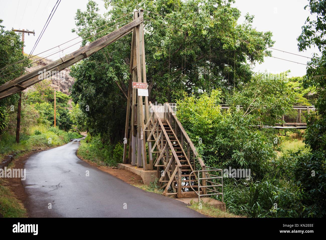 Swing bridge at the Menehune Ditch on Kaua'i Island, Hawai'i - Stock Image