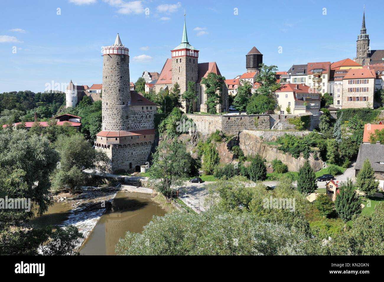 view of city center, bautzen, view of city center with ancient fortifications and city walls that surround houses, - Stock Image