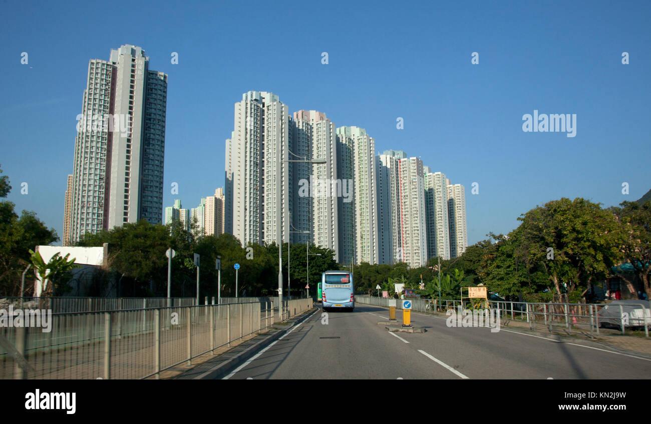 December 3, 2011: Hong Kong: Approaching the tall Tung Chung apartment towers on Lantau Island, - Stock Image