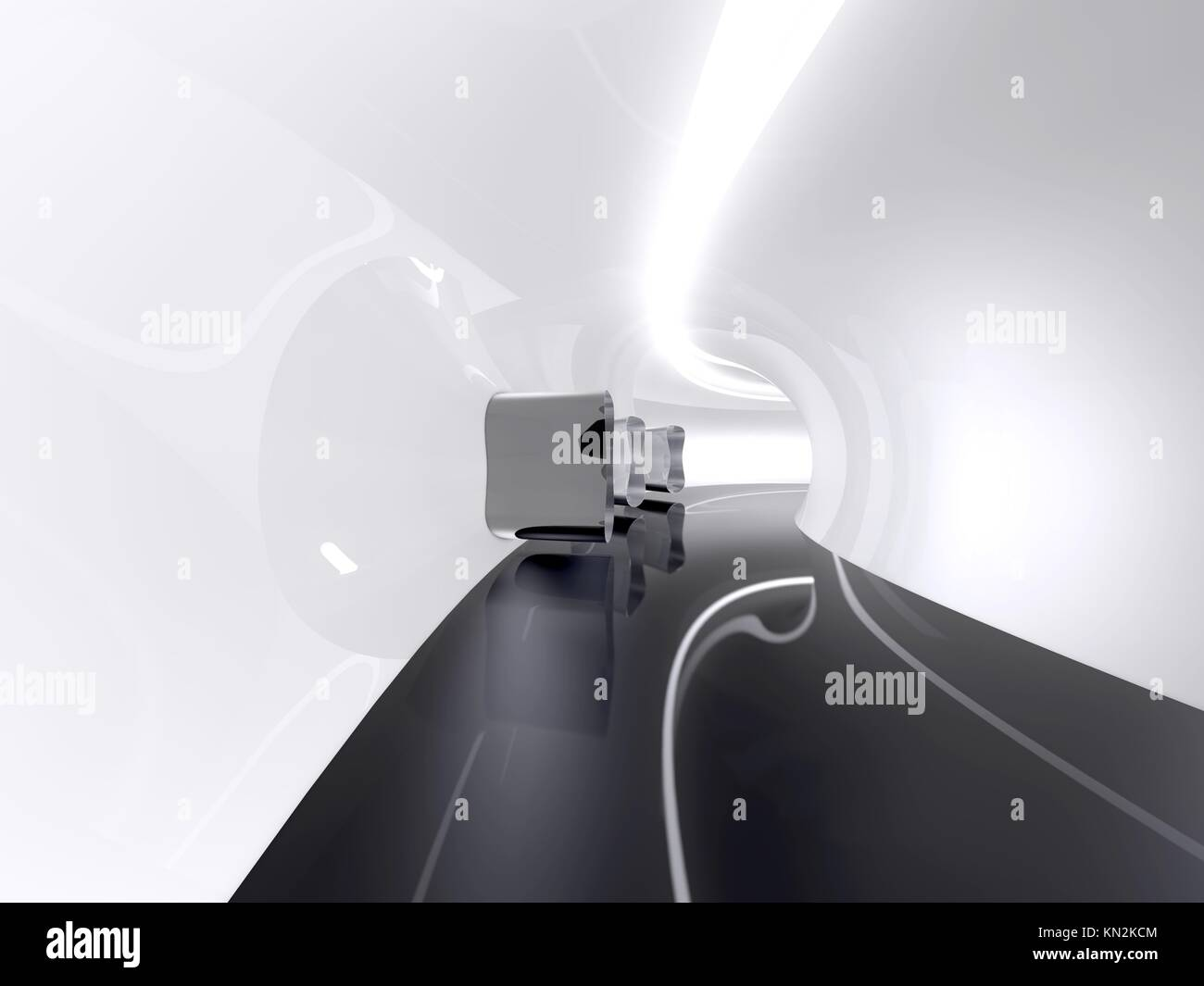Futuristic architecture space round corridor like sci-fi white indoor Stock Photo