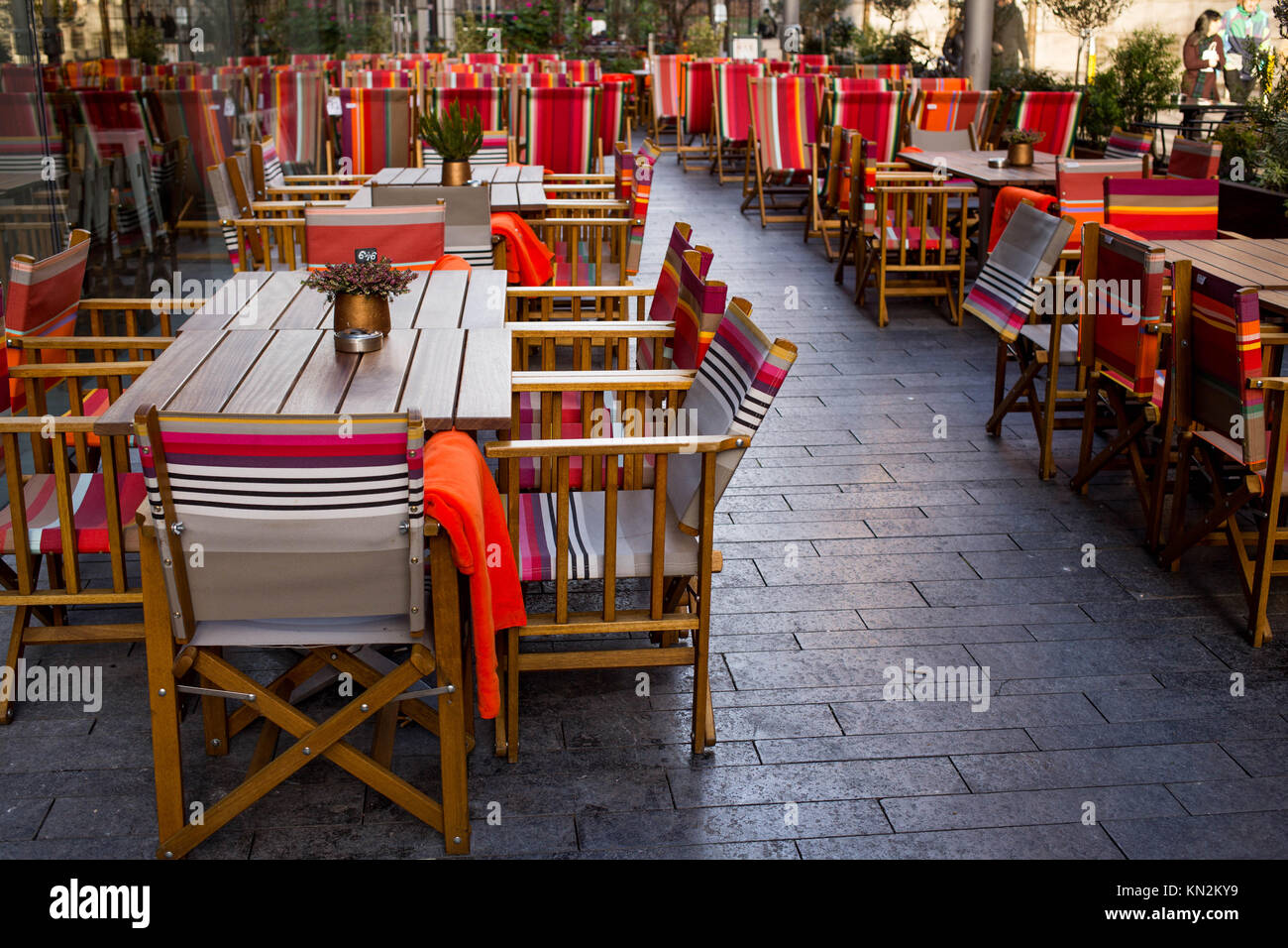 Colourful Outside Eating Area or Terrace At The Refinery Bankside Southwark London - Stock Image