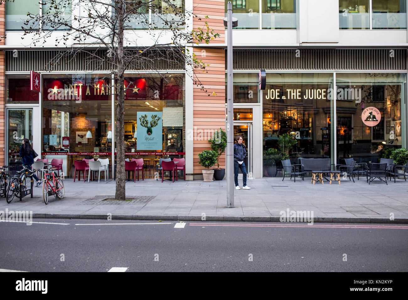 Pret A Manger and Joe and The Juice Coffee Shops Next to Each Other Southwark London - Stock Image