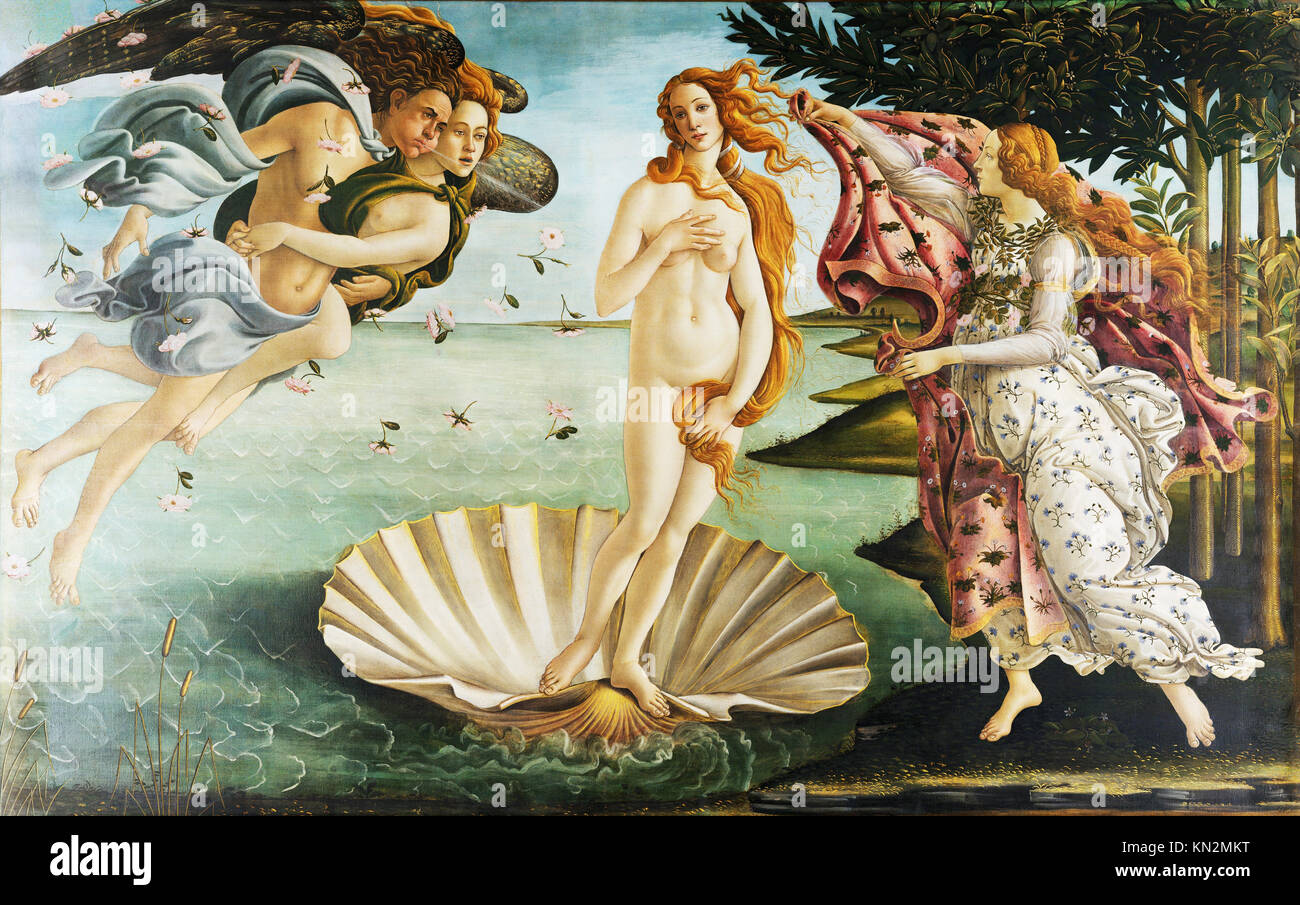 Birth of Venus by Botticelli, 1486 - Stock Image