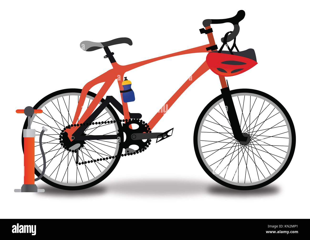 Racing Bicycle, Red and Black, with Tire Pump, Helmet, and Water Bottle, vector illustration - Stock Image