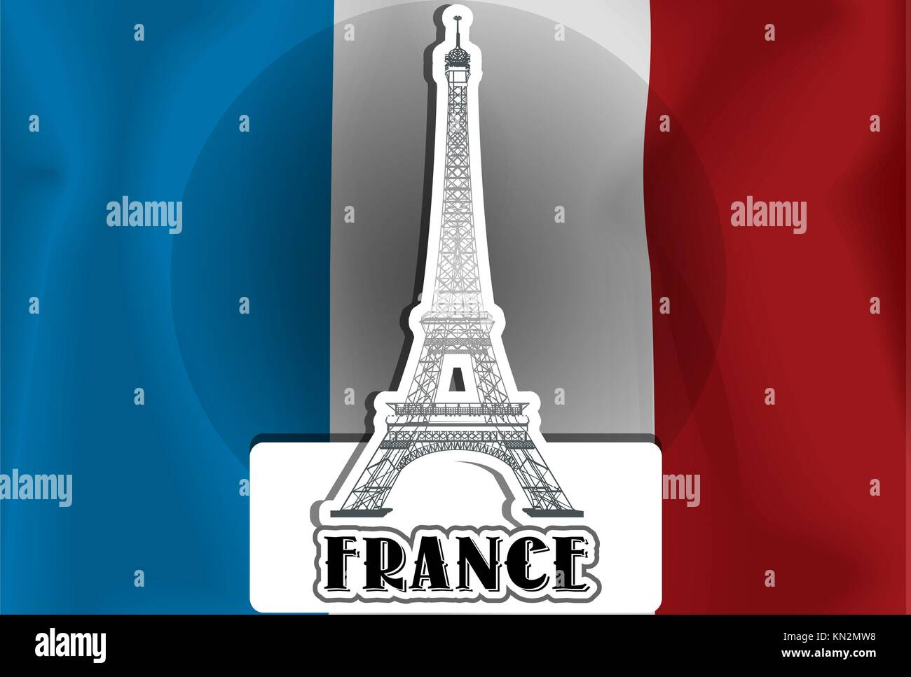 France, French Flag, Eiffel Tower vector illustration - Stock Image