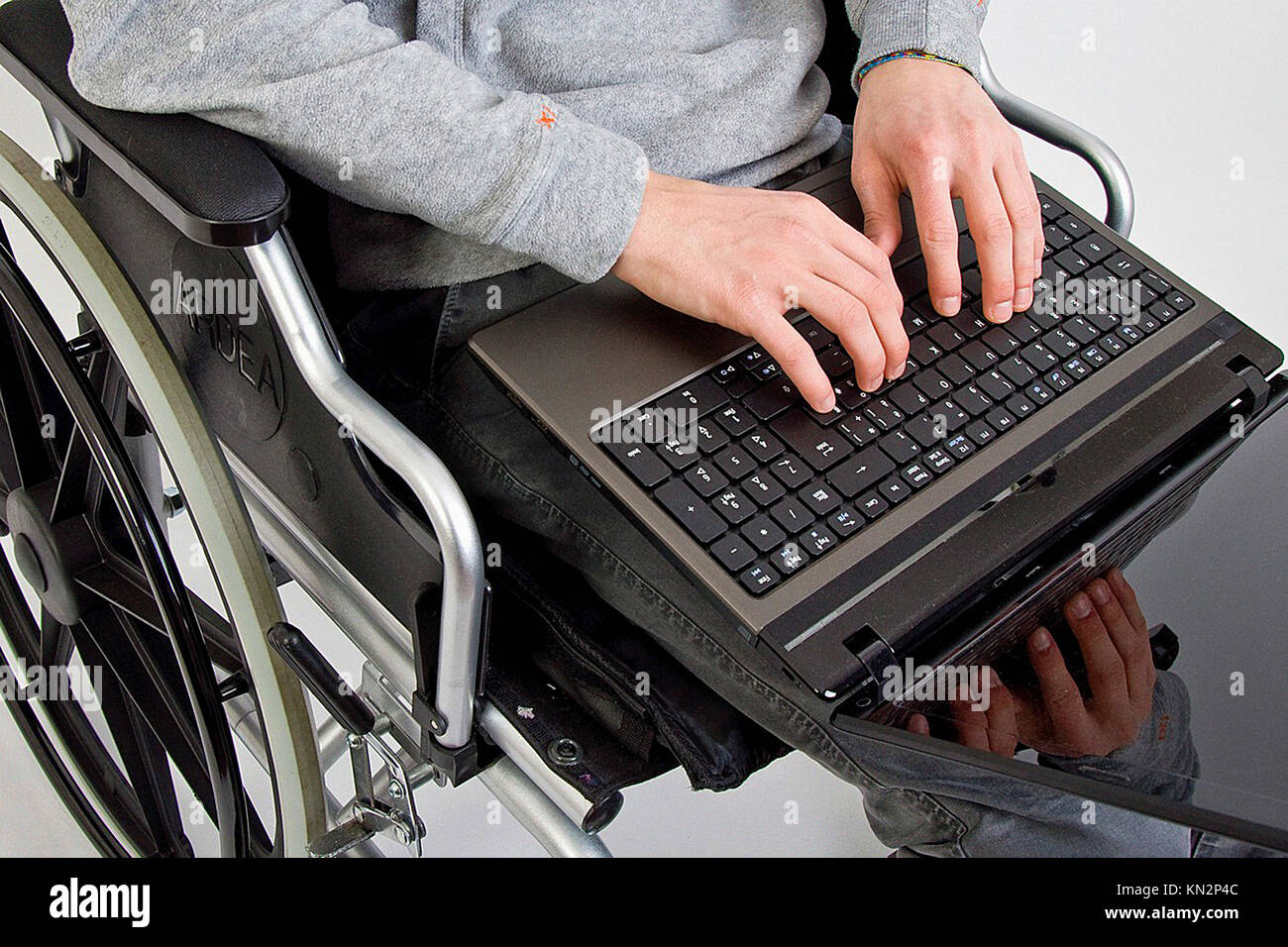 Disabled with computer - Stock Image