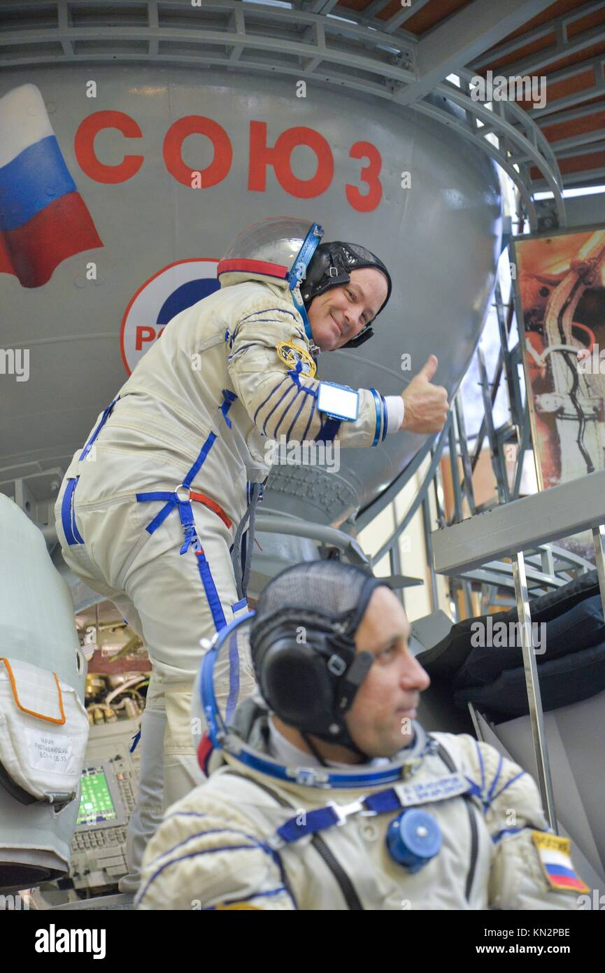 NASA International Space Station Expedition 54-55 prime crew member American astronaut Scott Tingle boards a Soyuz - Stock Image