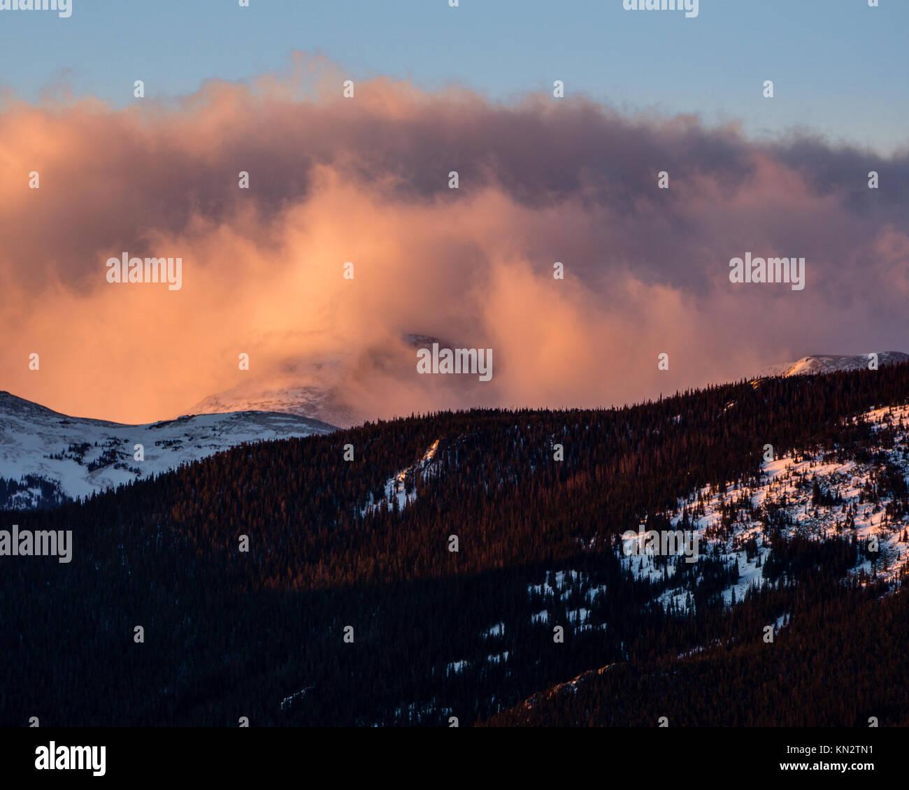 Sunrise in Rocky Mountain National Park.  Estes Park, Colorado. - Stock Image