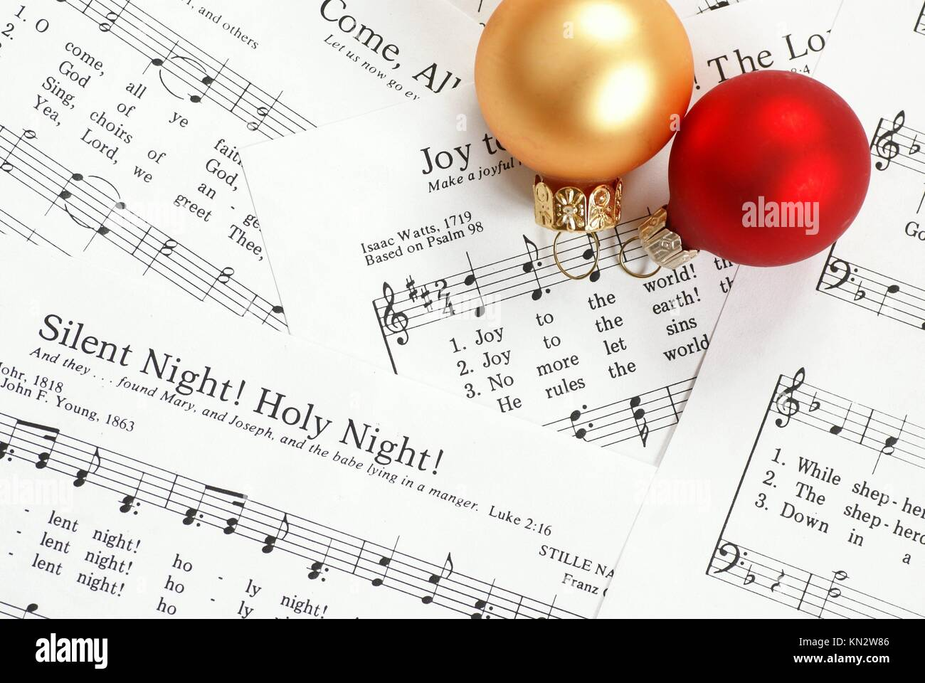 Christmas Music Notes.Music Notes With Christmas Carol And Christmas Ornaments