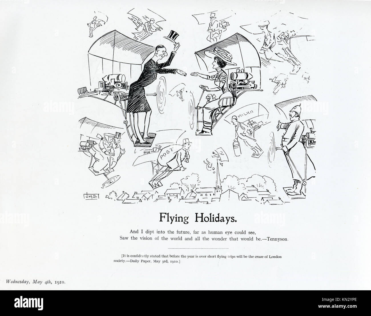 Flying Holidays, 1910 cartoon by JM Staniforth on the prediction that within the year short flying trips would be - Stock Image