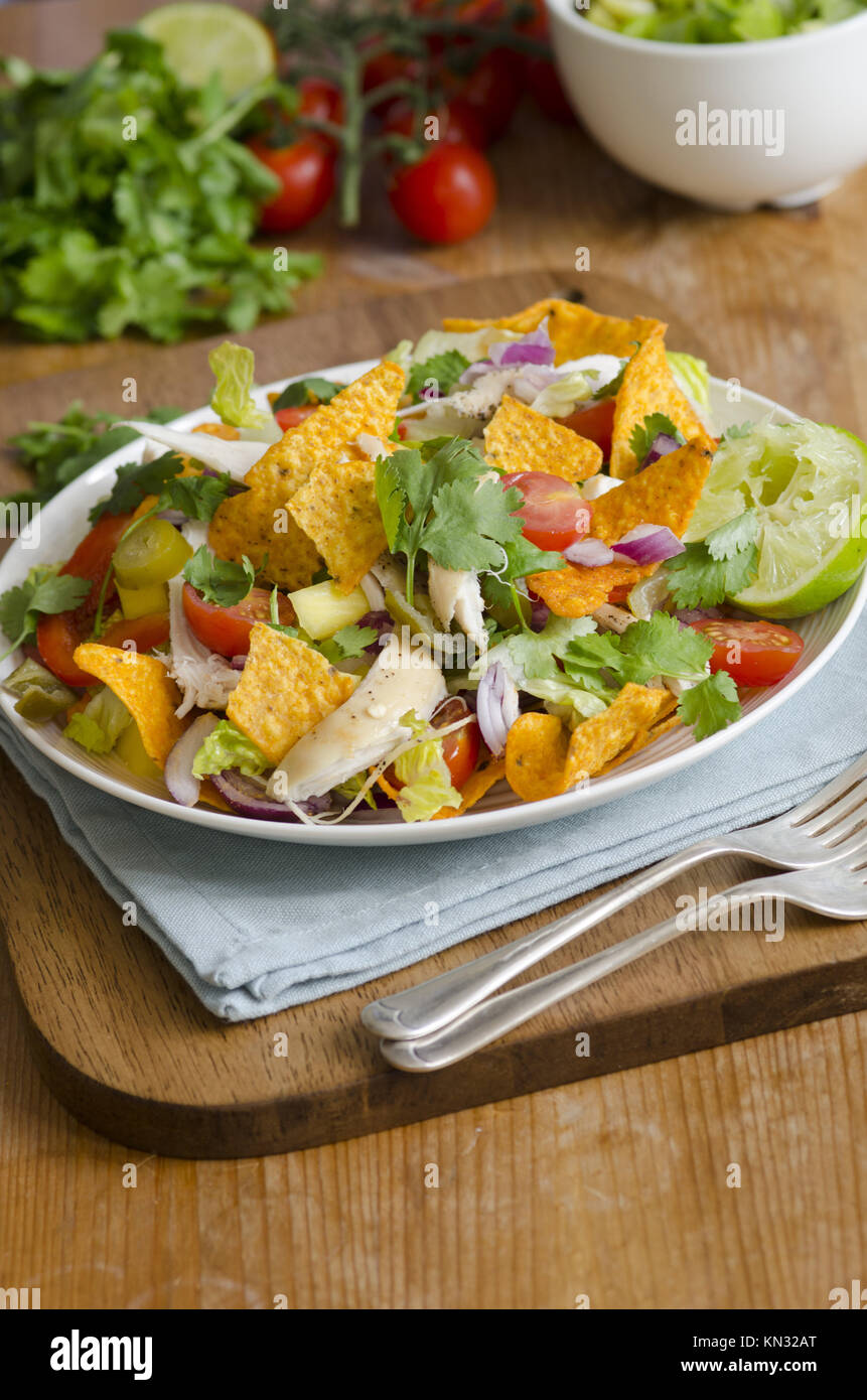 Spicy chicken, mango and jalapeno salad with tortilla crisps. Stock Photo