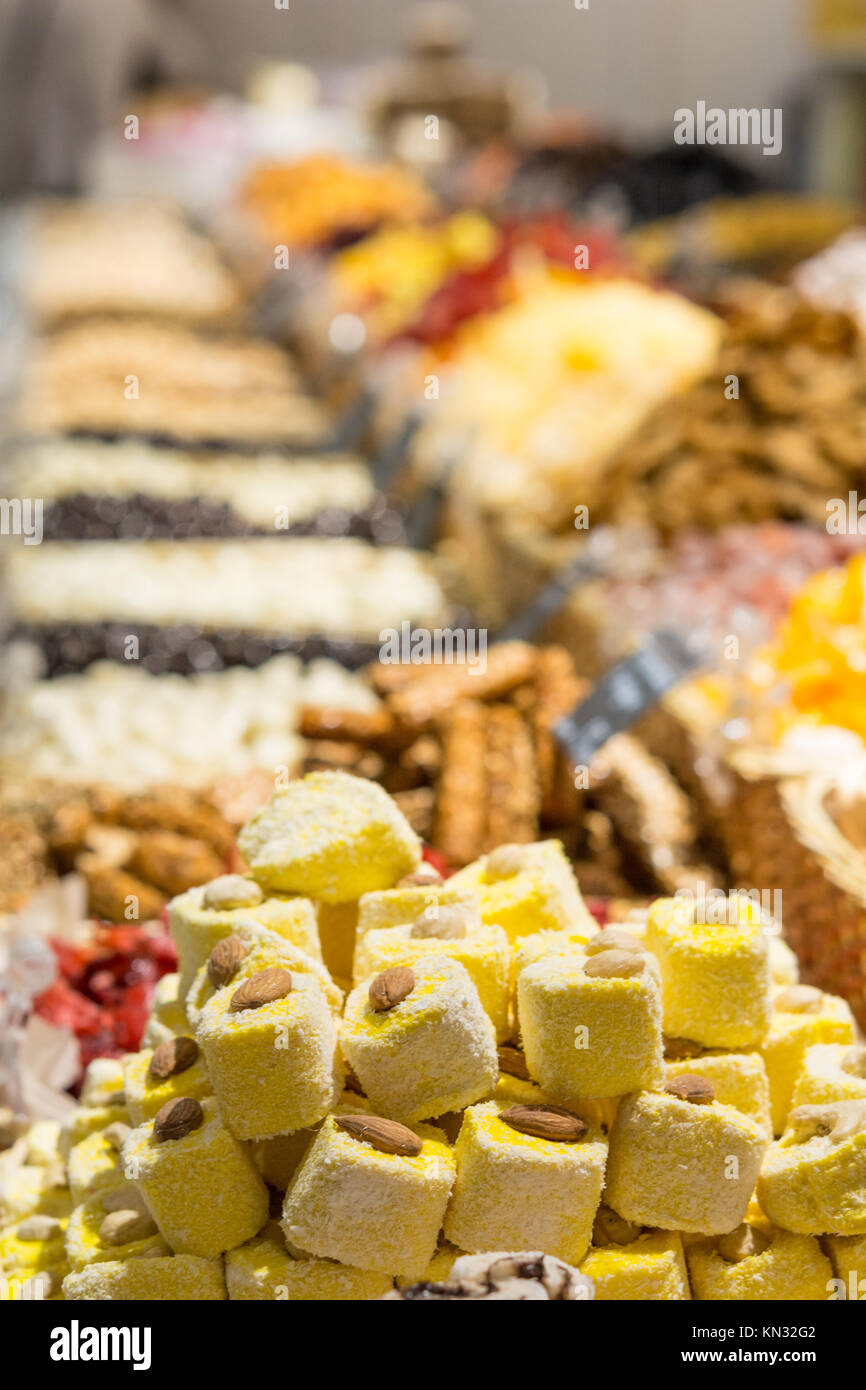 Counter ( showcase ) Shop oriental sweets - Stock Image