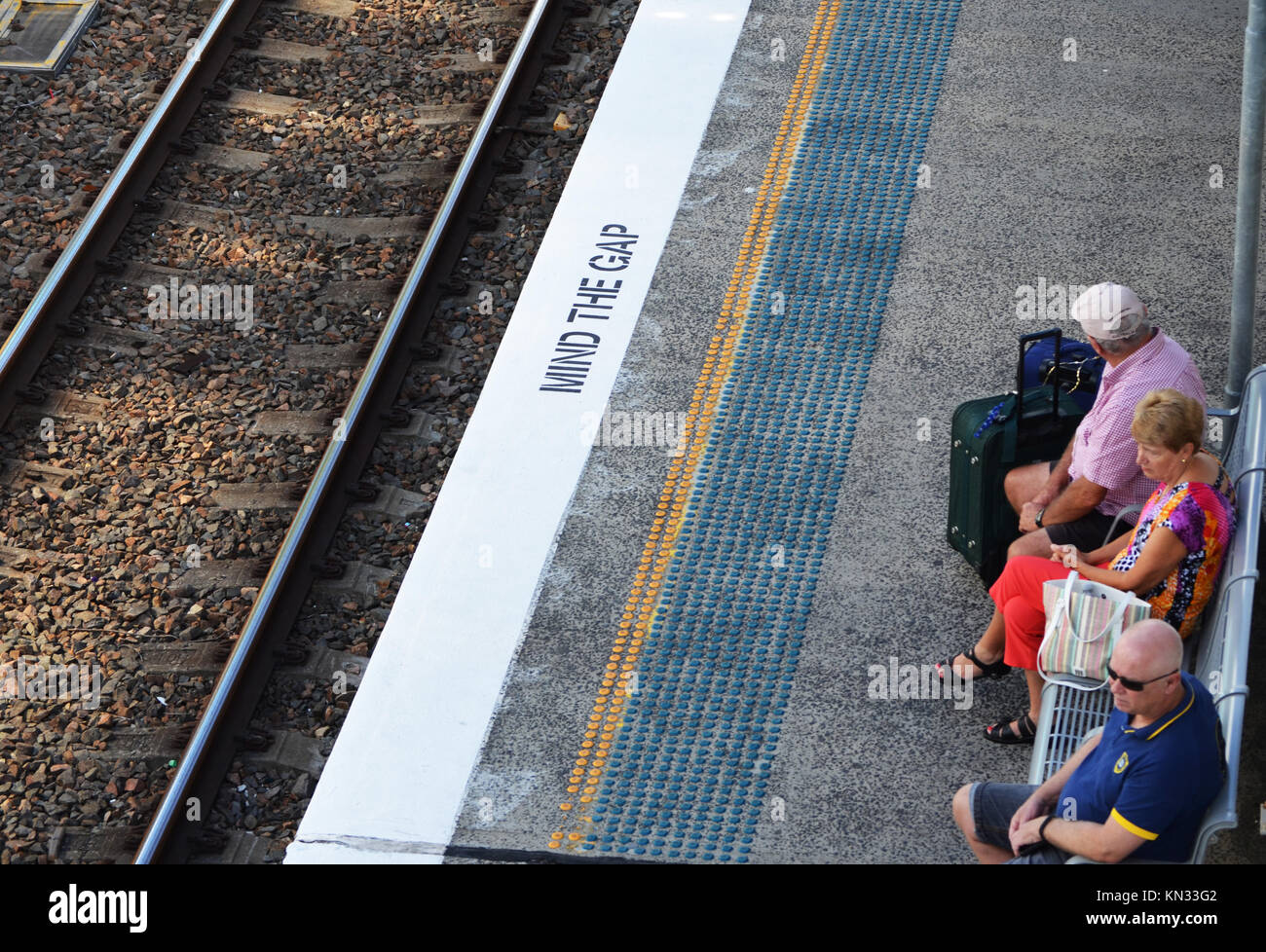 Patiently waiting for a train at Tuggerah Station Central Coast NSW Australia - Stock Image