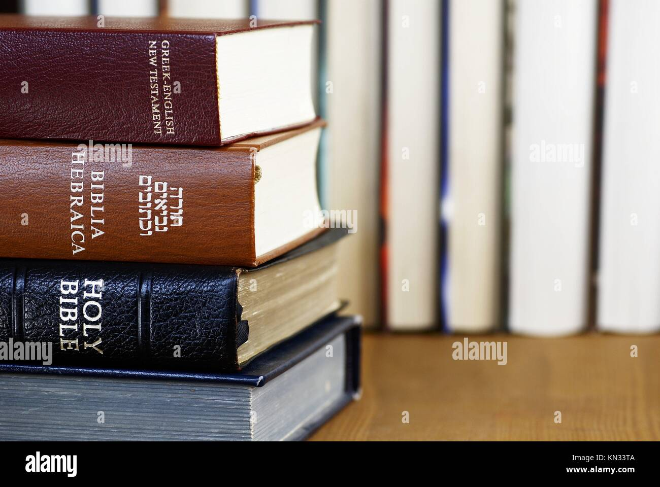 Holy Bible in different languages - english, hebrew and greek. - Stock Image
