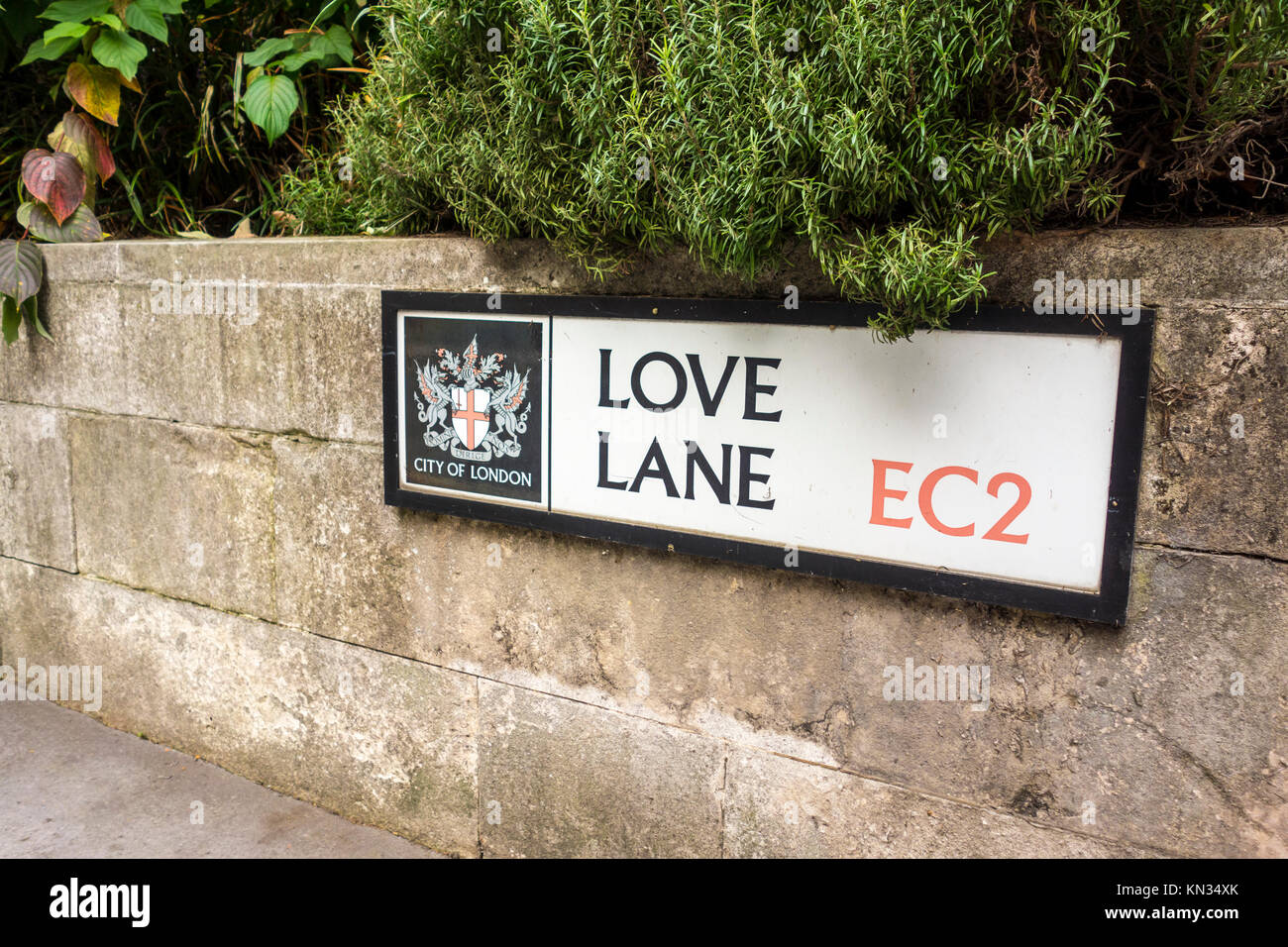 Love Lane, road name sign, City of London, UK - Stock Image