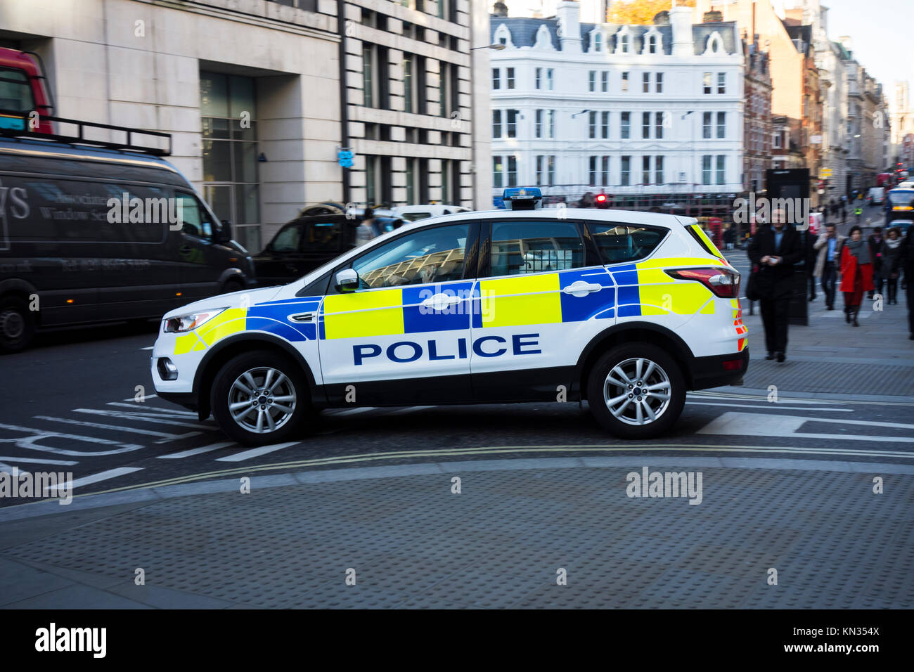 City of London police car vehicle at a junction on Ludgate Hill, UK - Stock Image