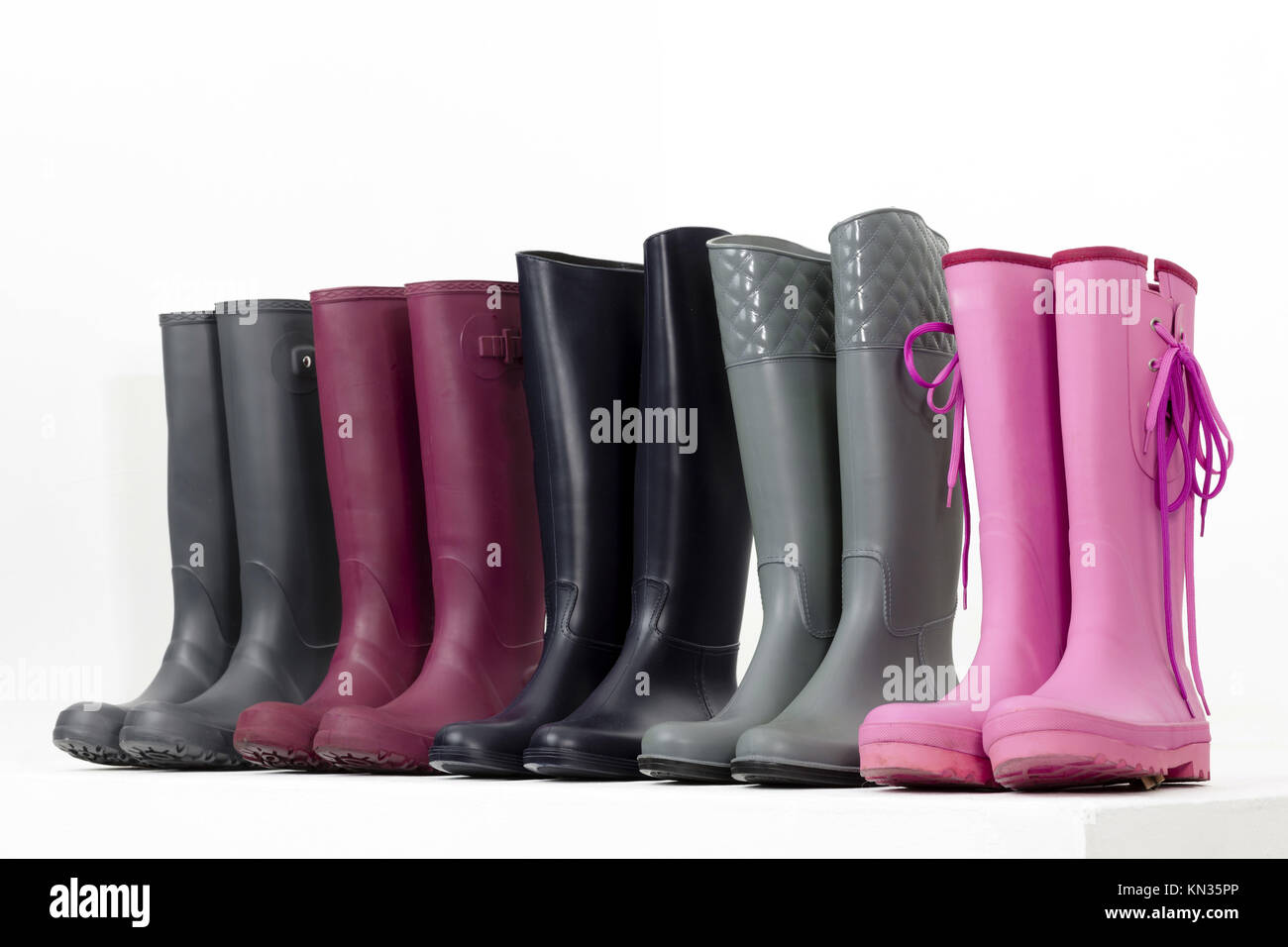 still life of rubber boots. Stock Photo