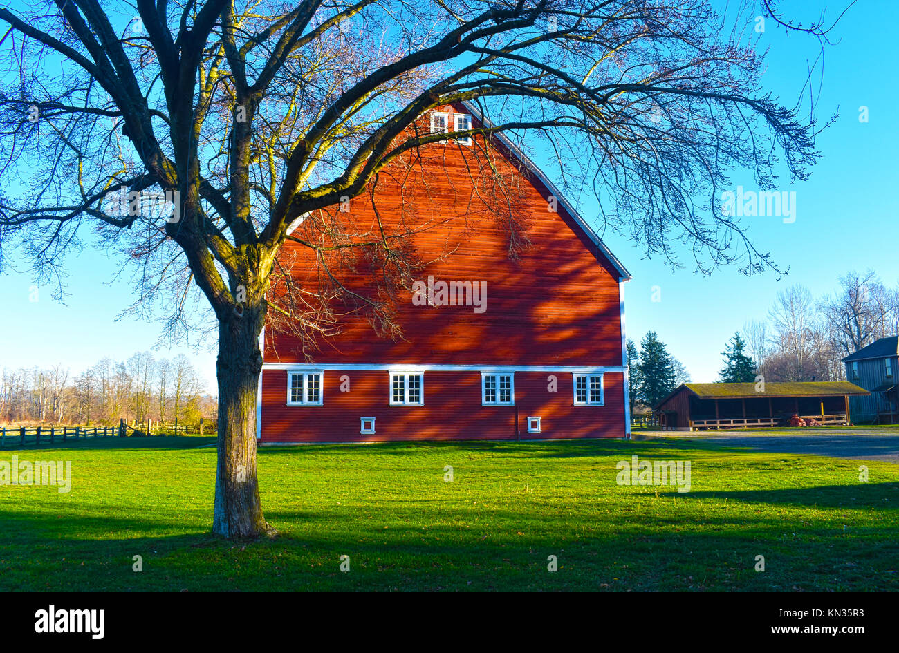 Hovander Heritage Park in Ferndale, Washington.  A historical farm in the pacific northwest just before sunset. - Stock Image