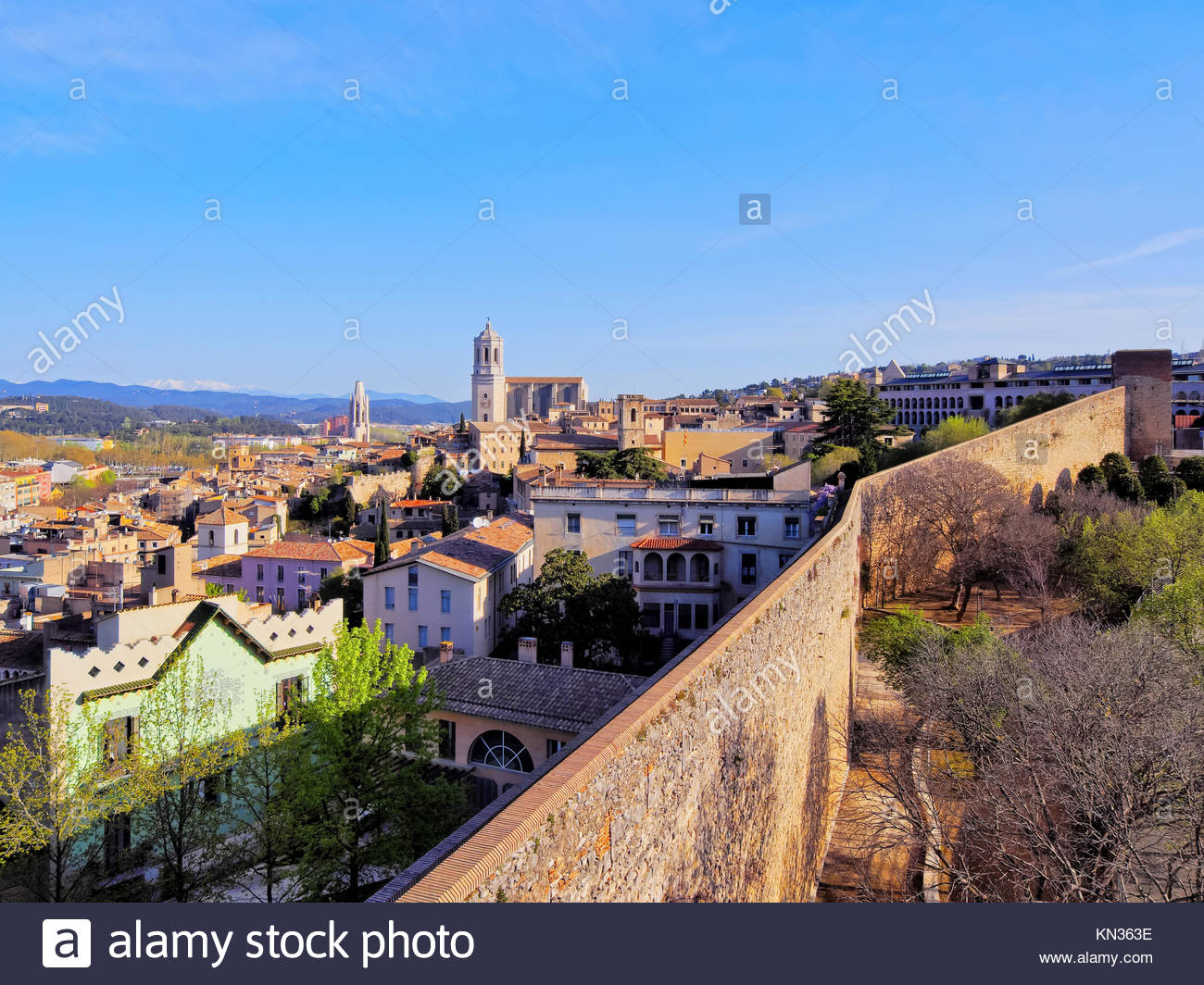 Girona cityscape, photo was taken from the city walls in the morning. Stock Photo