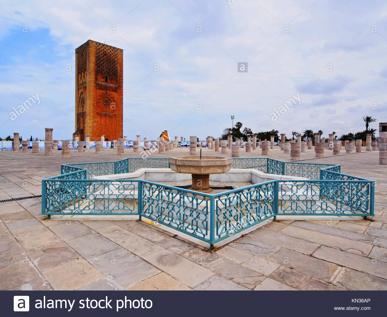 Hassan Tower - minaret of an incomplete mosque in Rabat, Morocco, Africa. - Stock Image
