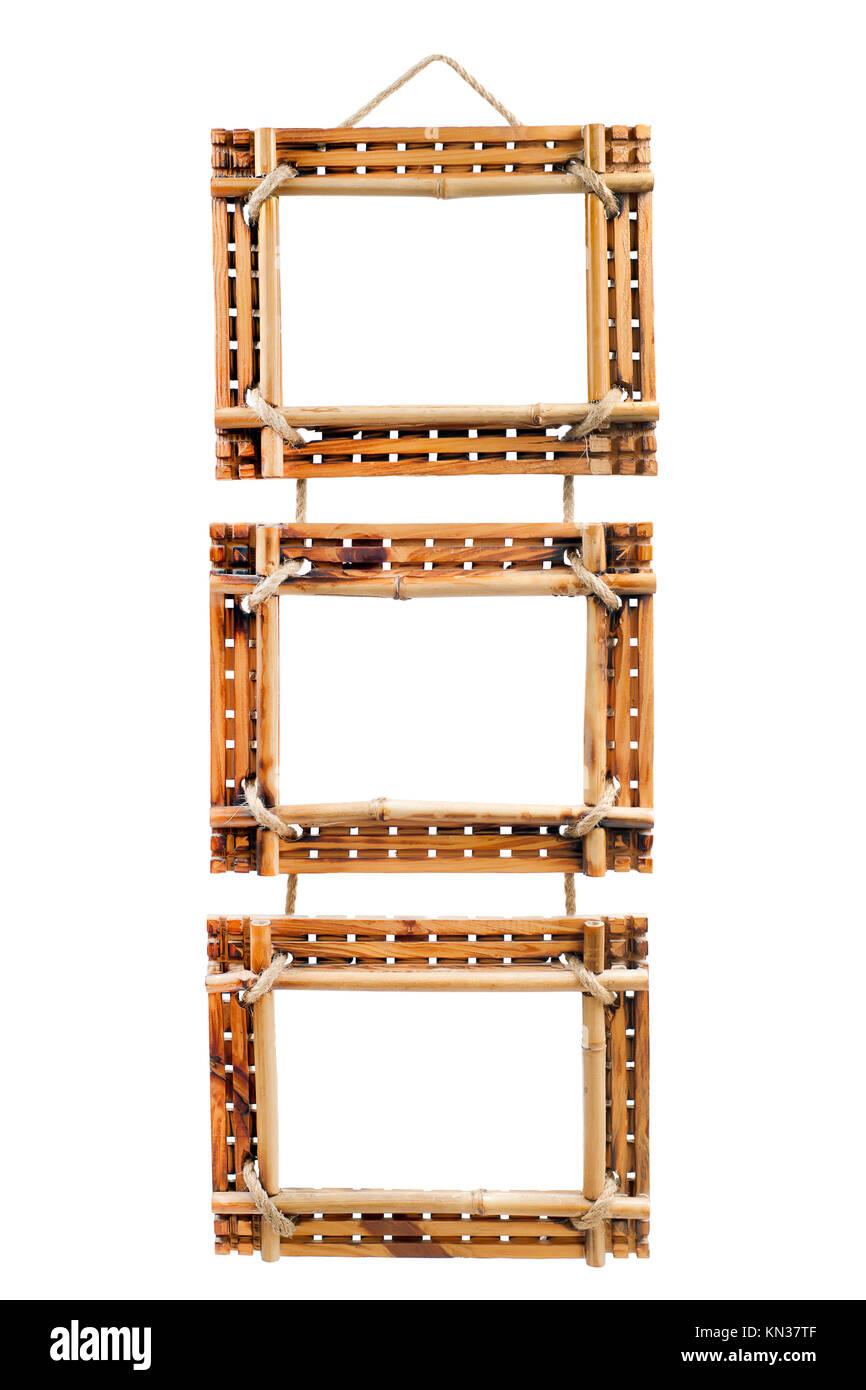 three bamboo photo frames isolated on white background Stock Photo ...