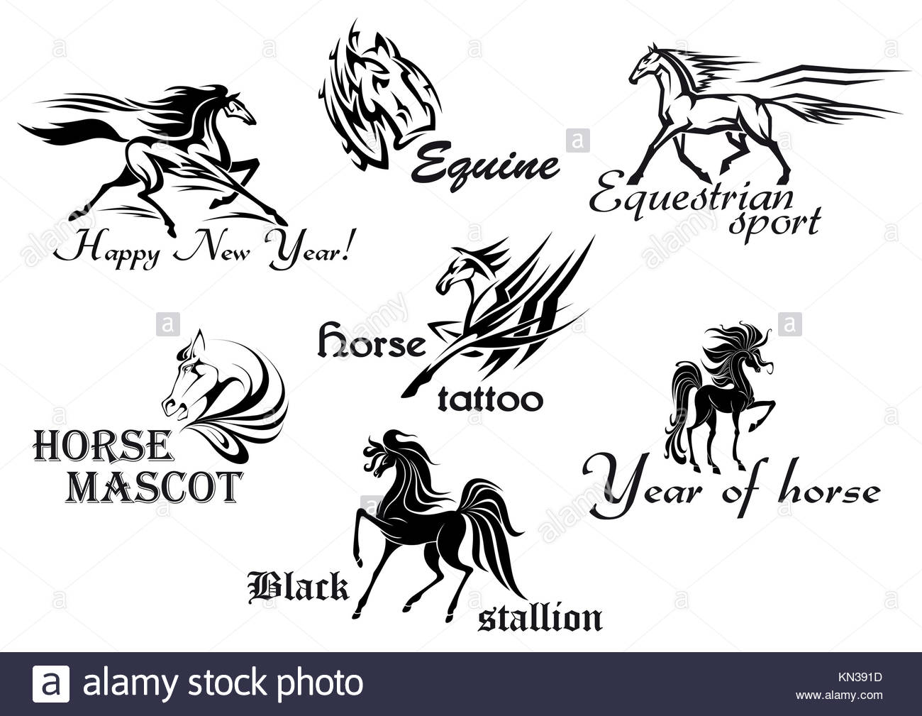 Horses stallions and mustangs for tattoo or mascot design. - Stock Image