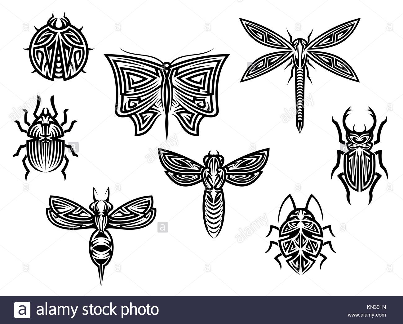 Tribal tattoos set with ornamental elements of insects for design. - Stock Image