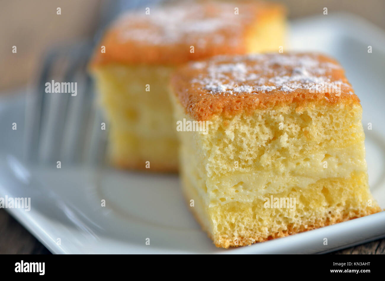 details of cheesecake on plate. Stock Photo