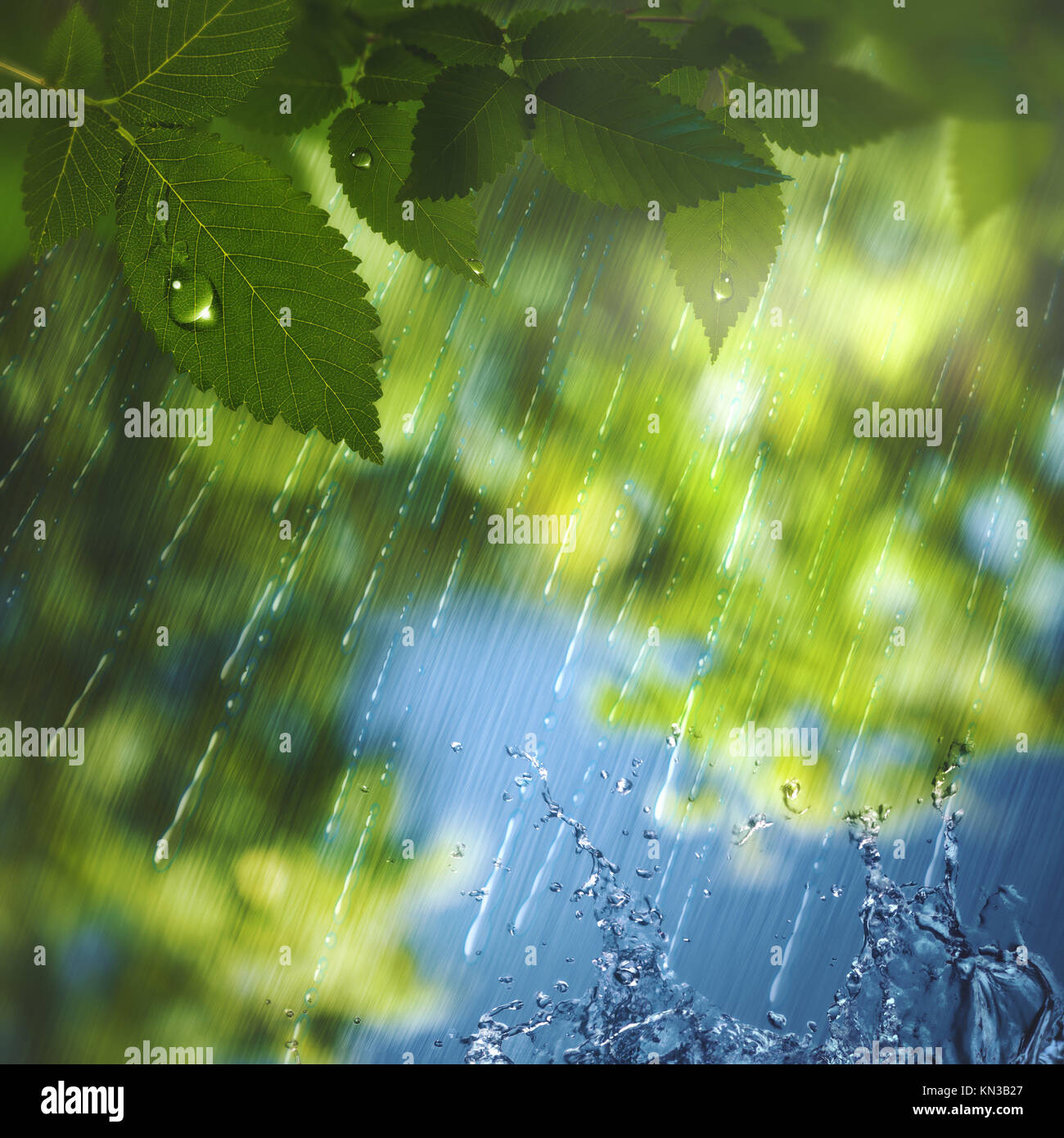 Summer rain, abstract seasonal background for your design. - Stock Image