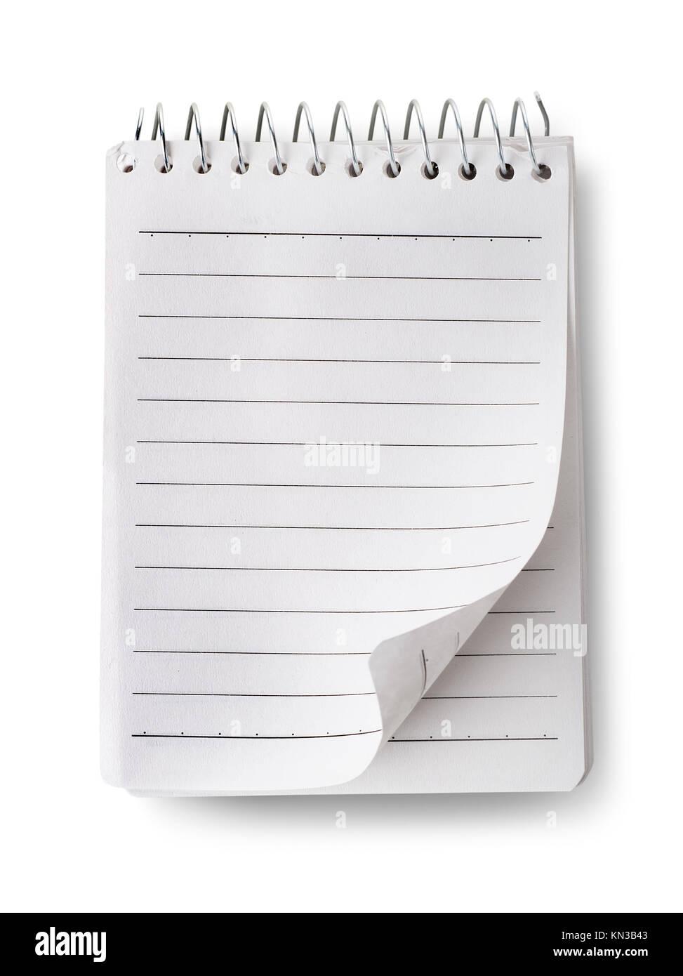 White notepad isolated on a white background. - Stock Image