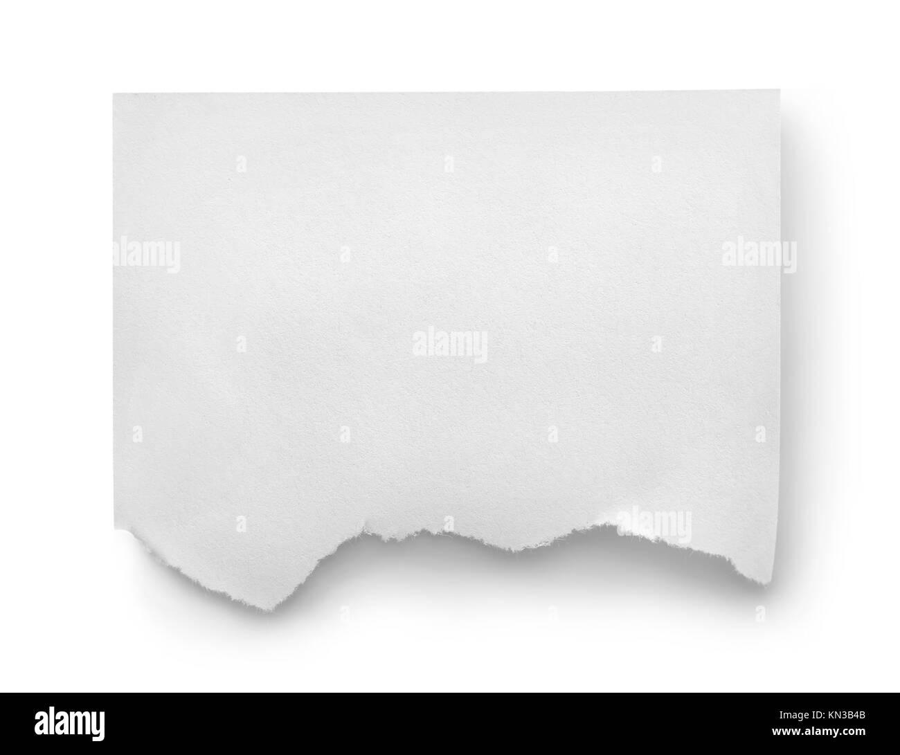 Sheet of white paper isolated on white background. - Stock Image