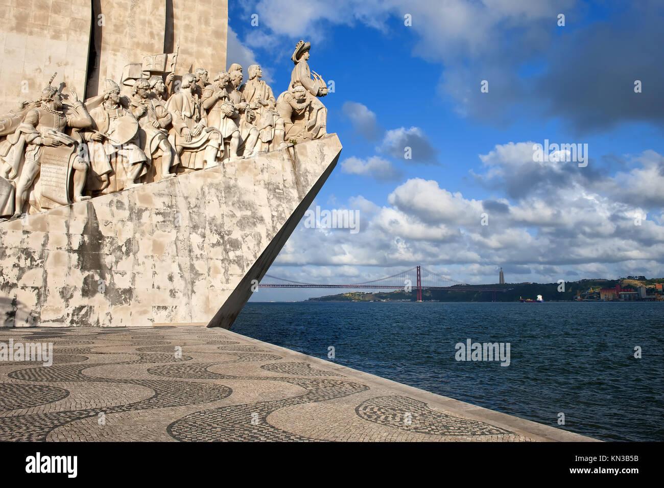 Padrão dos Descobrimentos (Monument to the Discoveries) celebrating Henri the Navigator and the Portuguese Age of Stock Photo